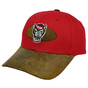 NCAA North Carolina State Wolfpack Fonz Hat Fauz Suede Velcro Adjustable Curved