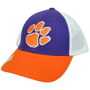 NCAA Mesh Twill Snapback Two Tone Curved Bill Adjustable Hat Cap Clemson Tigers