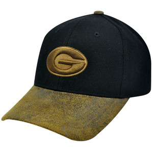 NCAA Georgia Bulldogs Faux Leather Suede Bill Black Brown Constructed Hat Cap