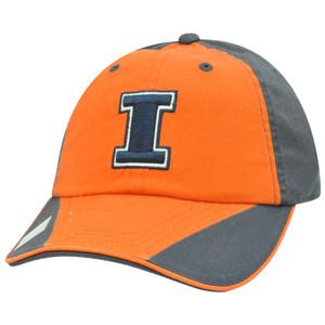 NCAA Flip Garment Wash Flip Orange Sun Buckle Hat Cap Illinois Fighting Illini