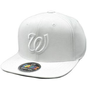 MLB American Needle ColorZ White Cap Hat Flat Bill Snapback Washington Senators