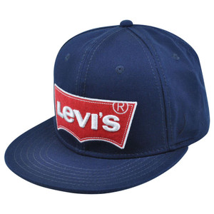 Levis Famous Brand Name Denim Jeans Red Logo Flat Bill Snapback Blue Hat Cap