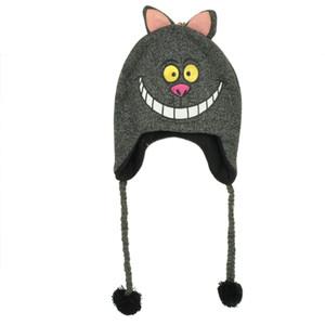 Alice In Wonderland Cheshire Cat Laplander Peruvian Knit Beanie Heather Grey Hat