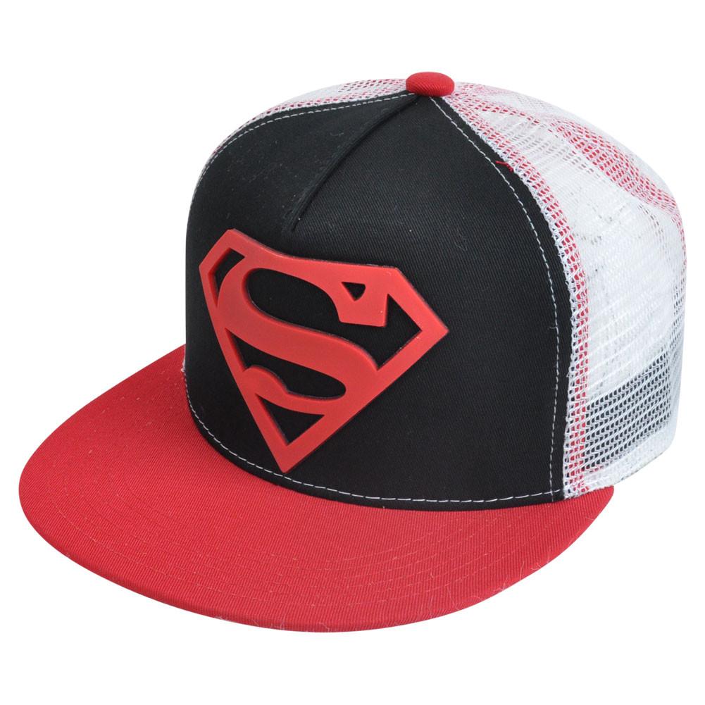40a94748982 DC Comics Superman Rubber Patch Logo Mesh Sublimated Brim Snapback ...