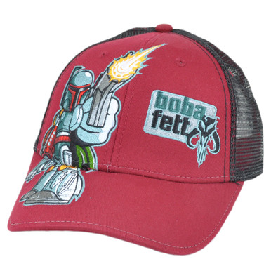 Boba Fett Star Wars Bounty Hunter Mesh Velcro Trucker Hat Cap Disney Maroon c91583ab8bd