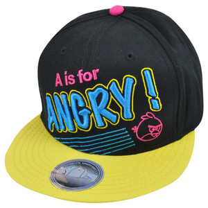 Angry Birds A is For Angry Neon Video Game Cartoon Flat Bill Snapback Hat Cap