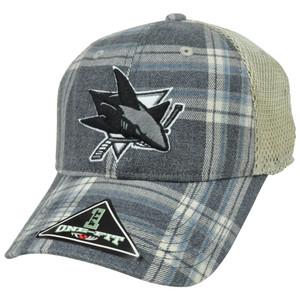 NHL LNH San Jose Sharks Plaid Mesh One Size Flex Fit Hat Cap Top of The World