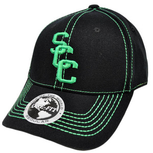 NCAA Scott Community College Top World Black Green Stitch Flex Stretch Fit Hat