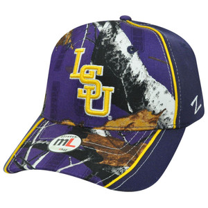NCAA FLEX FIT HAT CAP LOUISIANA STATE TIGERS PURPLE LG