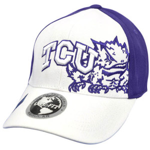 NCAA Texas Christian Horned Toads Top of World White Purple Hat Flex Stretch Fit