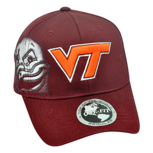 NCAA One Size Flex Fit Stretch Virginia Tech Hokies Hat Cap Logo Top The World