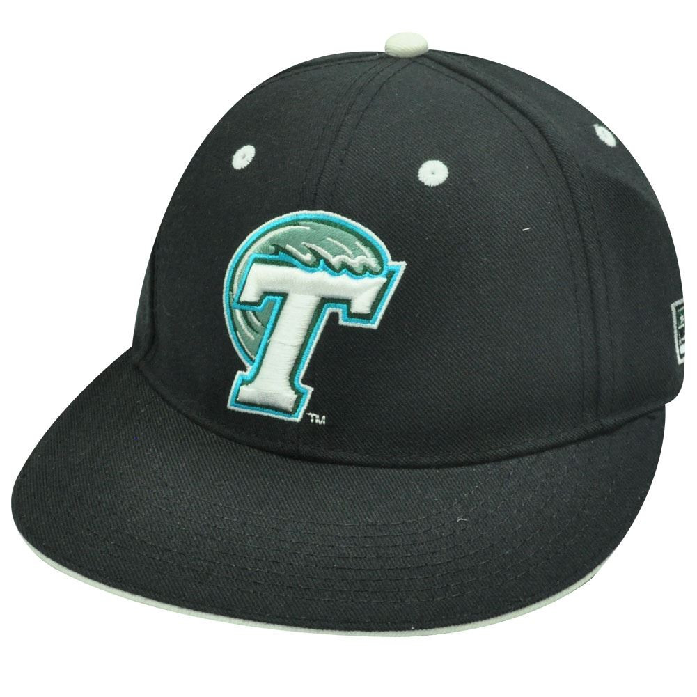 de04f659fe9 NCAA FITTED CAP HAT FLAT BLACK TULANE GREEN WAVE 6 7 8 - Cap Store ...