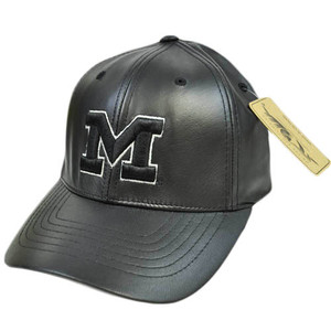 Michigan Wolverines Faux Leather Flex Fit Size Large LG Black Silver Hat Cap