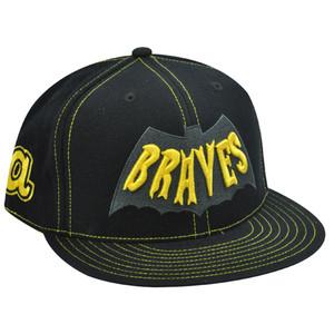 ATLANTA BRAVES FLAT BILL FIT HAT BLACK BATMAN 7 1/2 NEW