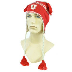 NCAA Zephyr Alpine Tassel Knit Beanie Hat Ear Flaps Toque Utah Utes Ute Tribe