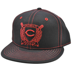 MLB Cincinnati Reds American Needle Black Red Fitted 7 3/8 Flat Bill Hat Cap