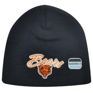 NFL Chicago Bears Rhinestone Gem Navy Blue Orange Women Ladies Knit Beanie Toque