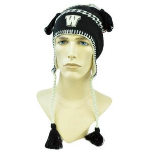 NCAA Zephyr Alpine Tassel Knit Beanie Hat Ear Flaps Toque Washington Huskies