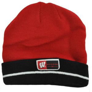 6772481c2a701 NCAA Wisconsin Badgers Cuffed Madison Beanie Knit Skully Toque Stripes Hat  Red