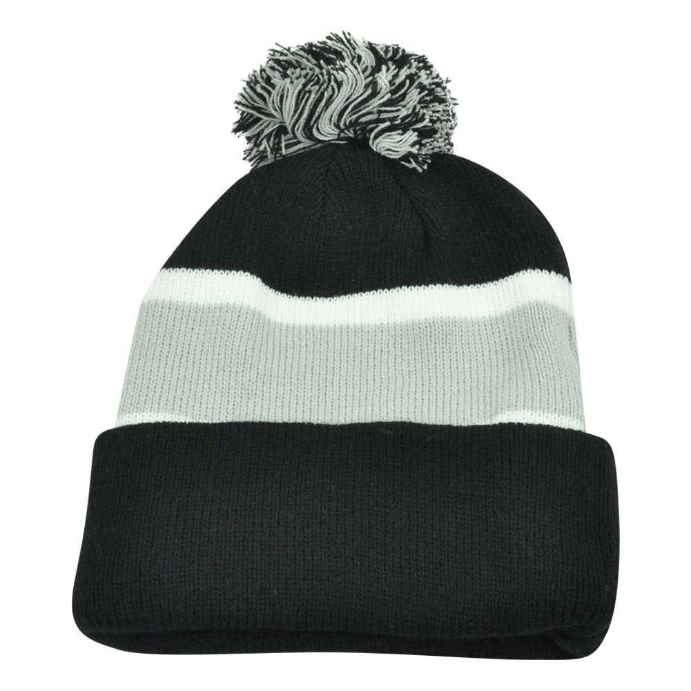 1a704ecfd Plain Blank Striped Cuffed Black Grey Thick Hat Beanie Pom Pom Knit ...