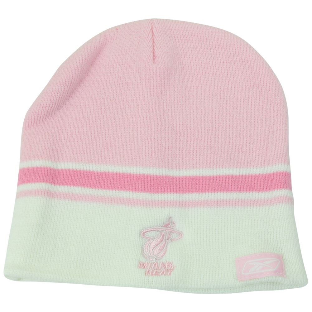 0ef3b67238f NBA Womens Reebok Rbk Miami Pink Striped Winter Beanie Knit Skull ...