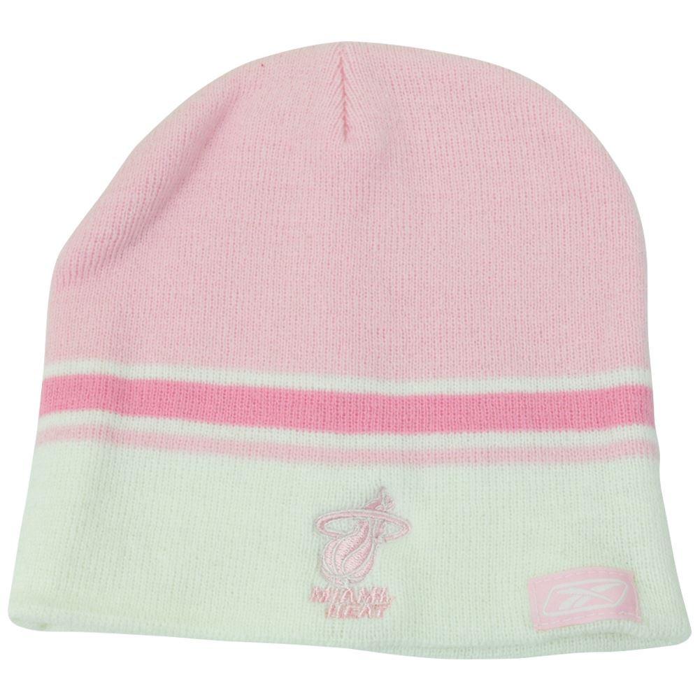 NBA Womens Reebok Rbk Miami Pink Striped Winter Beanie Knit Skull ... 413a24a82