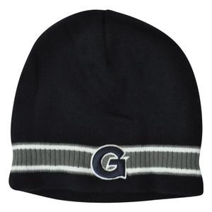 NCAA Georgetown Hoyas Bulldog Striped Beanie Knit Cuffless Skully Winter Hat