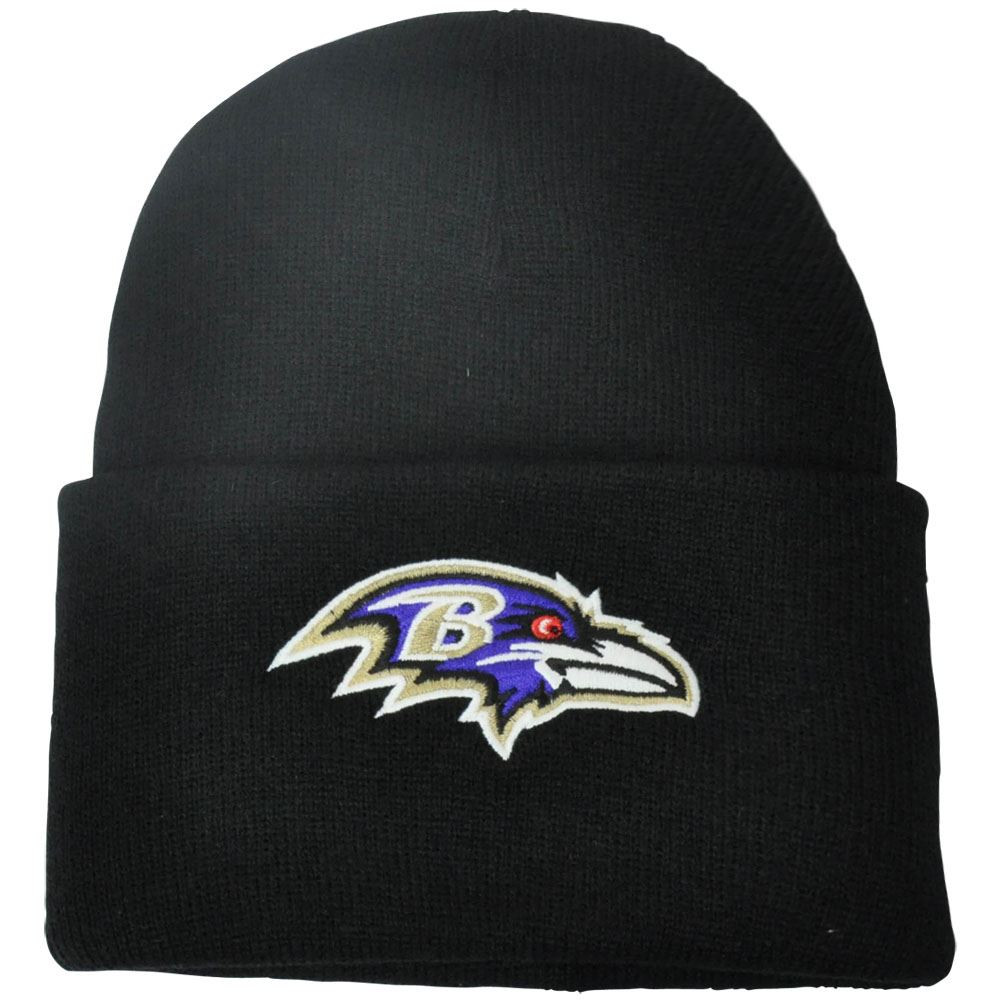 fd344eb4117 NFL Baltimore Ravens Basic Solid Cuffed Knit Beanie Winter Skully ...