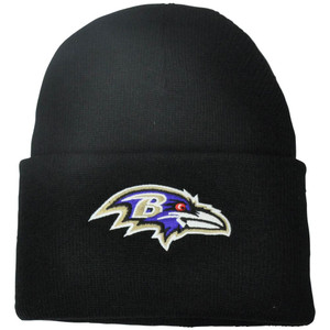 NFL Baltimore Ravens Basic Solid Cuffed Knit Beanie Winter Skully Hat Toque