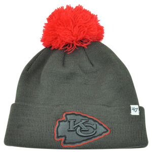 NFL '47 Brand Kansas City Chiefs Justus Charcoal Pom Cuffed Knit Beanie Skully