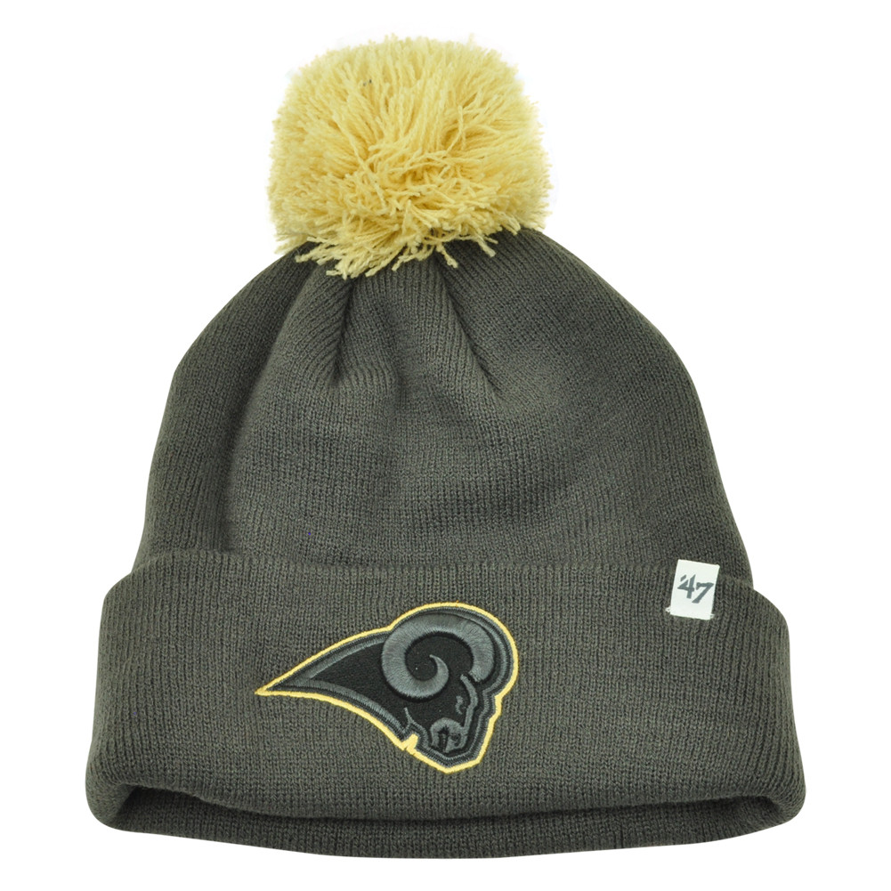 4ae707b4223 NFL  47 Brand St Louis Rams Justus Charcoal Pom Cuffed Knit Beanie ...