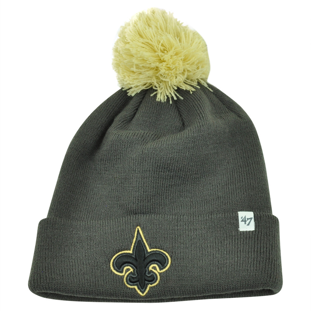 ... New Orleans Saints Justus Charcoal Pom Cuffed Knit Beanie Skully. Image  1 e0ca45047