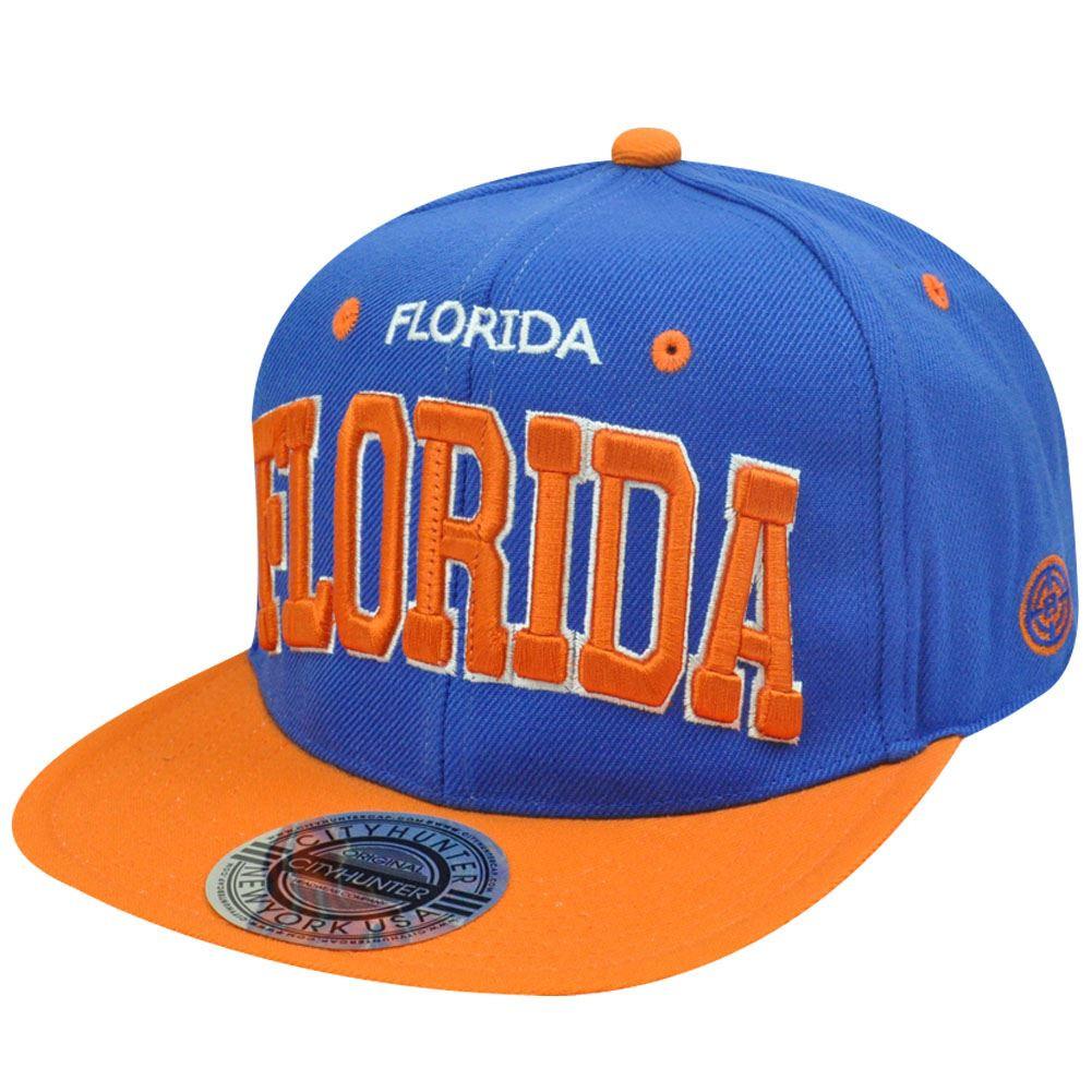 HAT CAP GORRA CHAPEU SNAP BACK MIAMI FLORIDA FLAT BILL BLUE ORANGE ... 0c5004e2e13