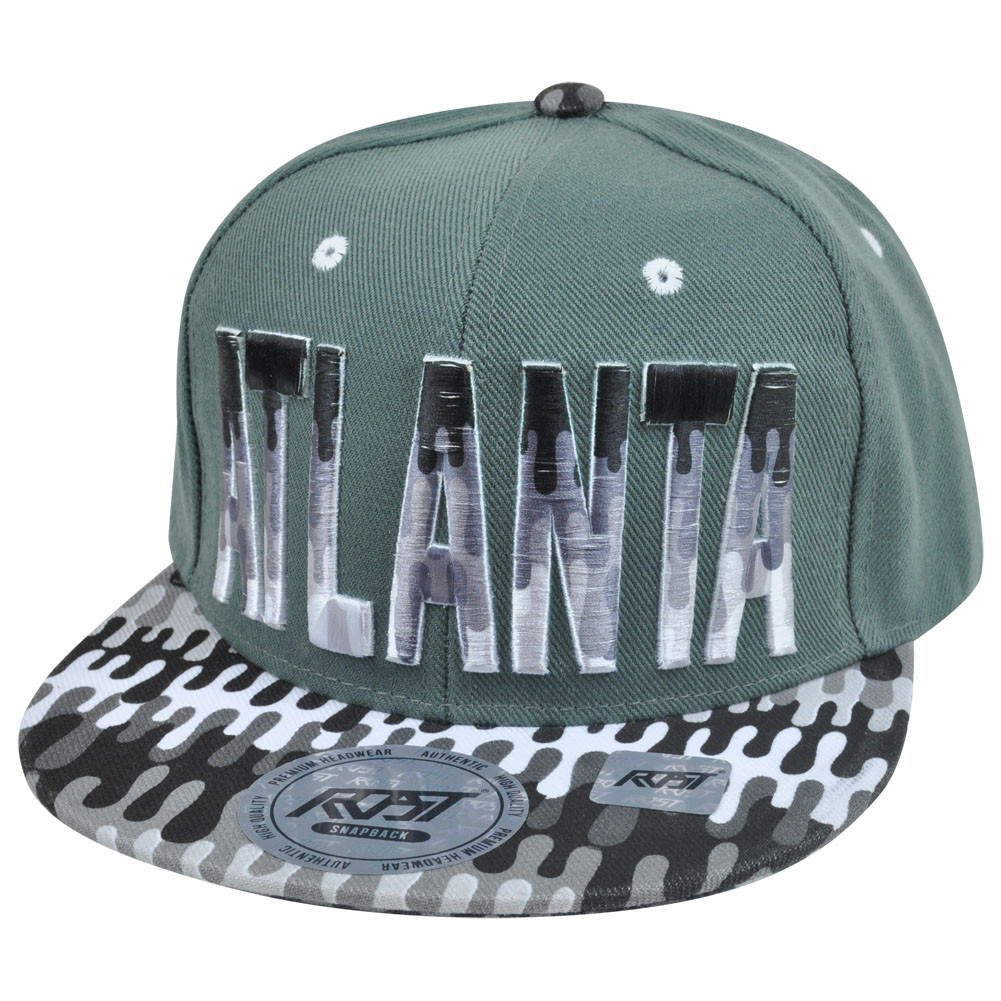 cf25b585759 Atlanta Georgia Dripping Paint Print Snapback Grey Adjustable Flat ...