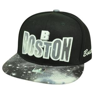 Boston Massachusetts Galactic Sublimated Galaxy Flat Bill Snapback Black Hat Cap