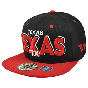 Big Texas TX State USA US Flat Bill Snapback Block Letter Black Hat Cap Adjustab
