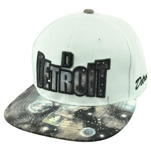 Detroit Michigan Galactic Sublimated Galaxy Flat Bill Snapback White Hat Cap