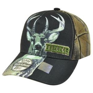 Deer Buck Two Tone Camouflage Camo Velcro Outdoor Hunting Hunt Hat Cap Camping