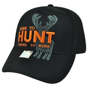 Born Hunt Forced to Work Black Buck Deer Velcro Outdoors Sport Hunting Hat Cap