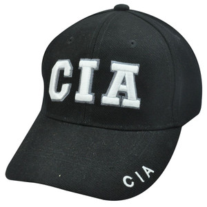 CIA Central Intelligence Agency Black Baseball Cap Hat Law Enforcement Velcro