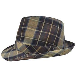Authentic London Fog Tan Khaki Dark Brown Plaid Small Medium Fedora Gangster Hat