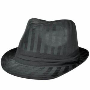 Black Satin Stripes Small Medium MD Fedora Trilby Homburg Stetson Gangster Hat