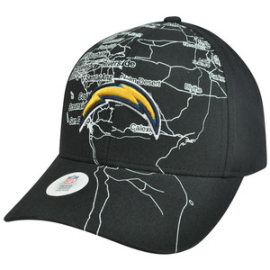 NFL San Diego Chargers Chartis City Map Adjustable Velcro Curved Bill Black Hat