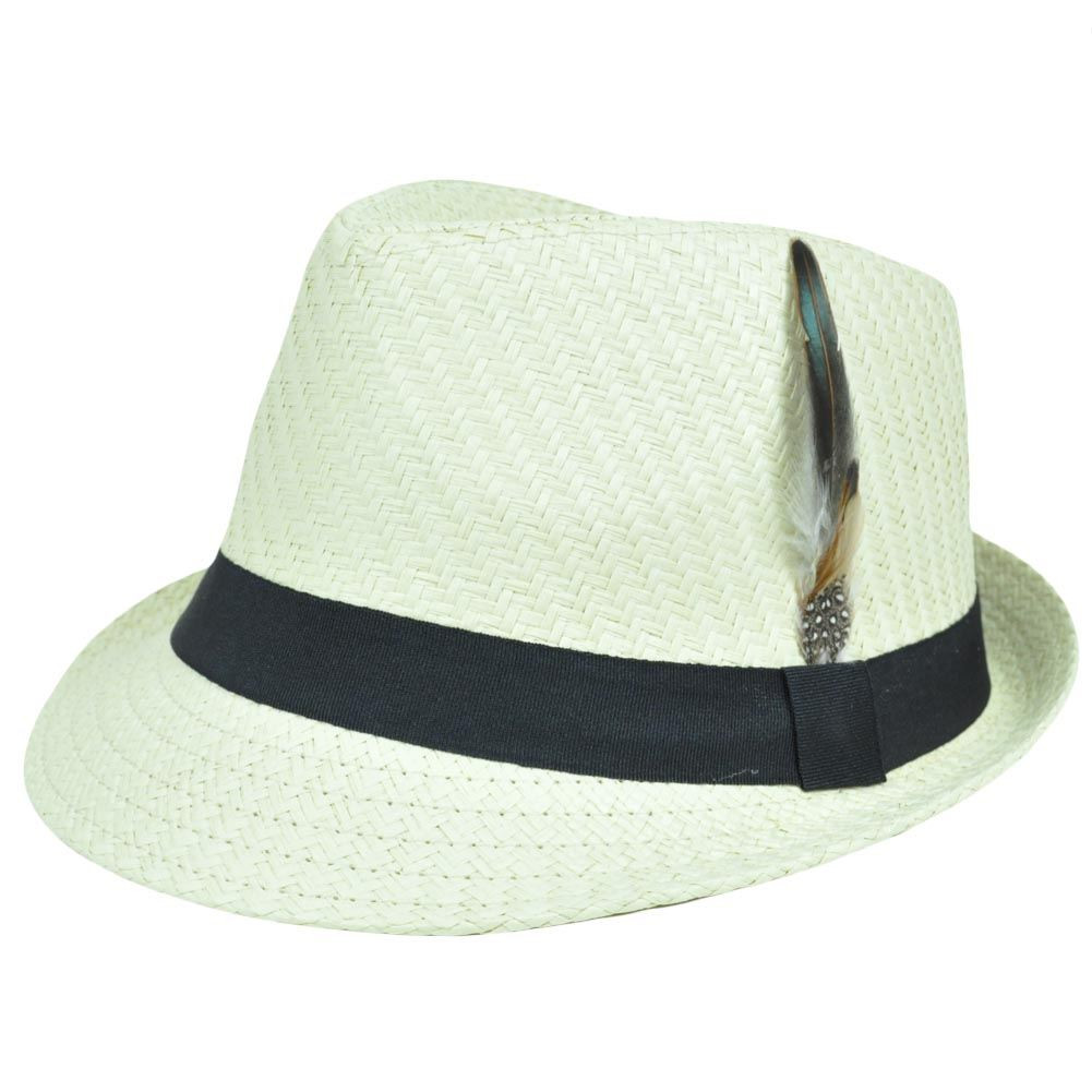 409210a43028ae FD- 139 Beige Black Small Medium Woven Straw Fedora Stetson Gangster ...