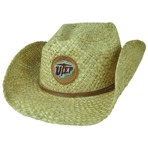 NCAA Utep Miners El Paso Texas Cowboy Wide Brim Plaid Straw Woven Hat One Size