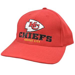 NFL Kansas City Chiefs Red Black Vintage Old School Flat Bill Snapback Hat Cap
