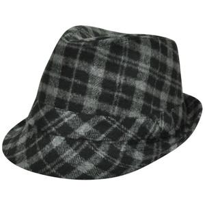 Plaid Fedora One Size Fit Fedora Trilby Ganster Diamond Top Mens Hat Grey  Black 27875547f7a0