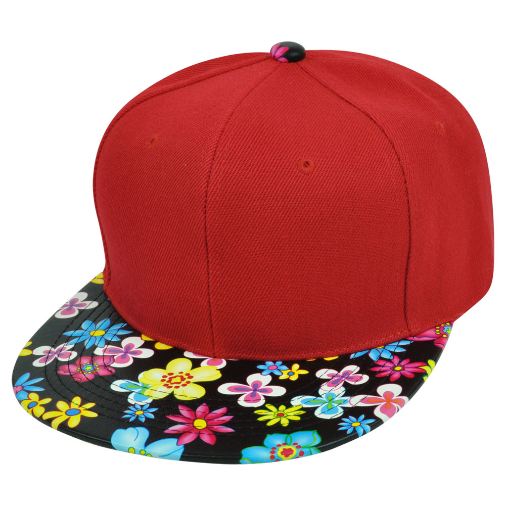 Blank Solid Plain Red Flower Floral Faux Leather Flat Bill Snapback ... feba70435