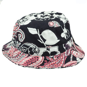 Floral Paisley Design Fitted Small Medium Patterned Sun Bucket Hat Navy Blue