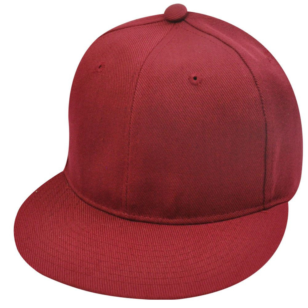 ad32066037e BLANK PLAIN SOLID MAROON FLAT BILL FITTED HAT CAP SMALL - Cap Store ...